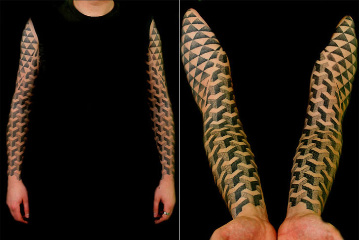 Full Sleeve Outstanding Escher Pattern Cubes Tattoo