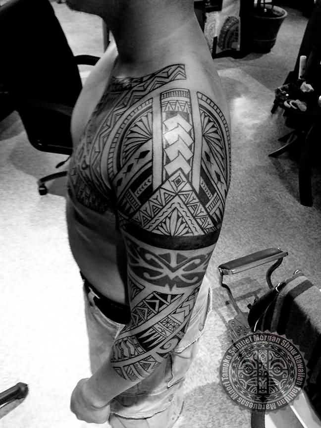 Full Sleeve Outstanding Filipino Polynesian Tattoo For Men