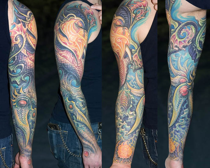 Full Sleeve Sea Creature Octopus Tattoo