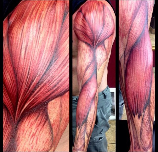 Full Sleeve With Muscles Tattoo Design Idea