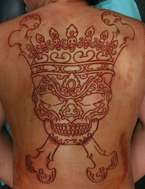 Fulll Back Simple Scarification Ink Skull Bone Tattoo