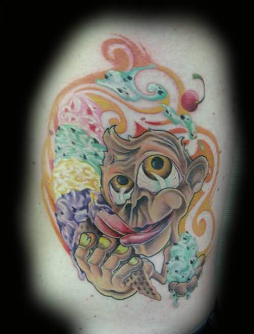 Funny Monkey Nice Ice Cream Fruits Tattoo