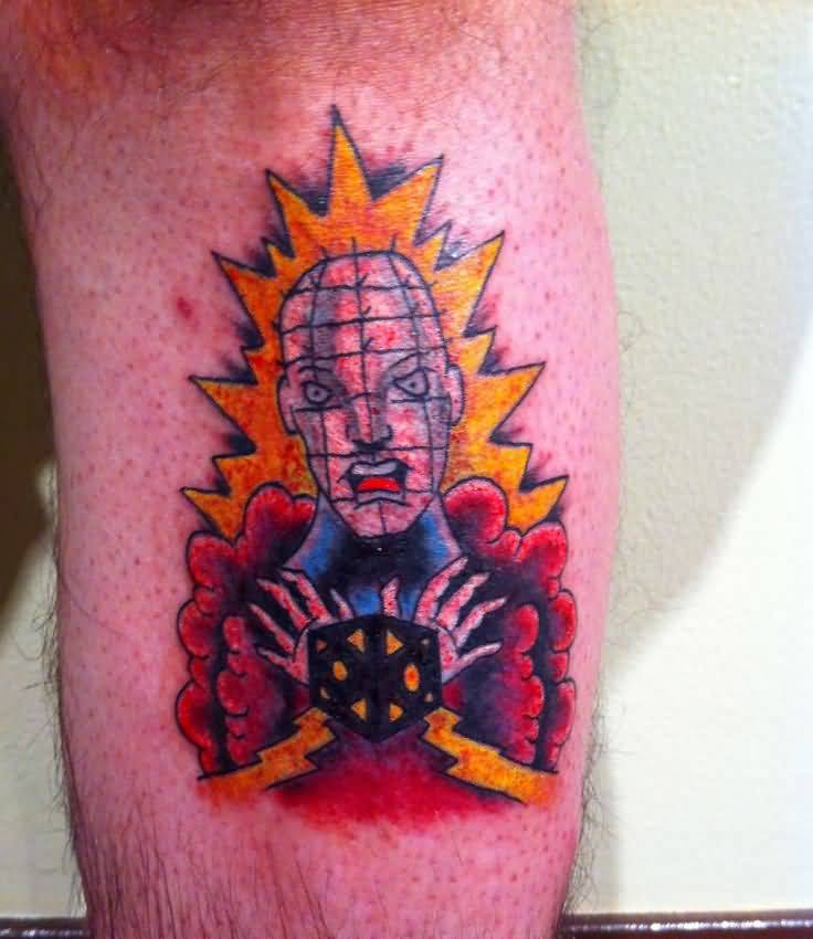 Funny Pinhead Flame Tattoo Design For Men
