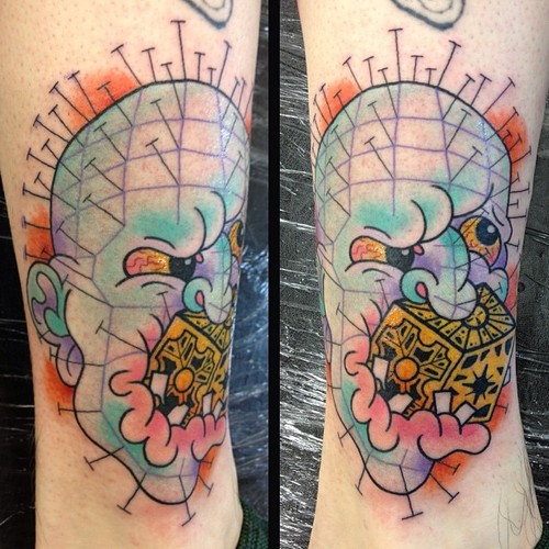 Funny Pinhead Tattoo Design With Old Style Cube