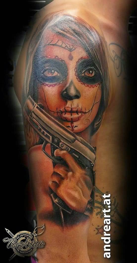 Gangester Catrina Zombie Girl Tattoo On Half Sleeve
