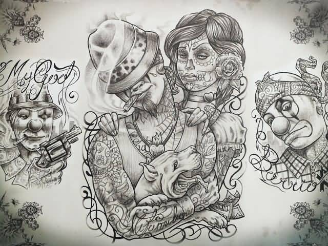 Gangsta Chinaco Girl And Men Tattoo