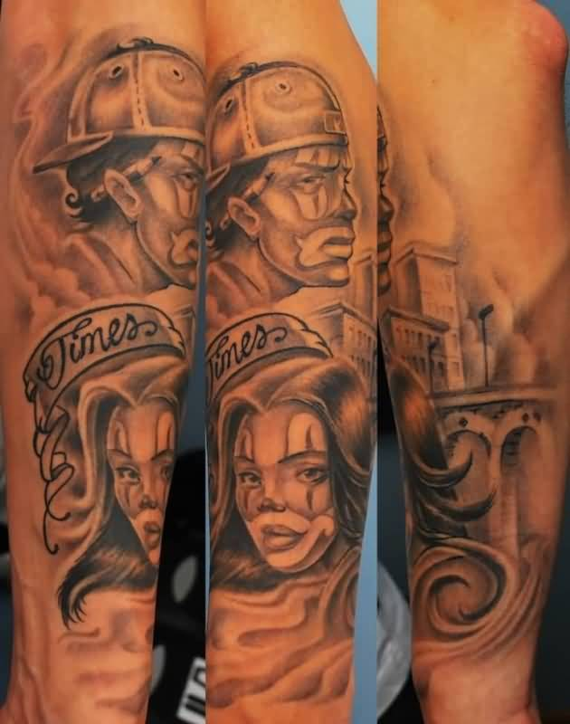 Gangsta Latino Men And Girl Face Tattoo Design