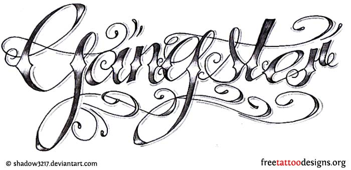 Gangsta Letters Tattoo Sketch