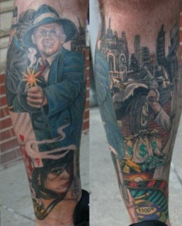Gangsta Men Hold Gun Tattoo On Leg