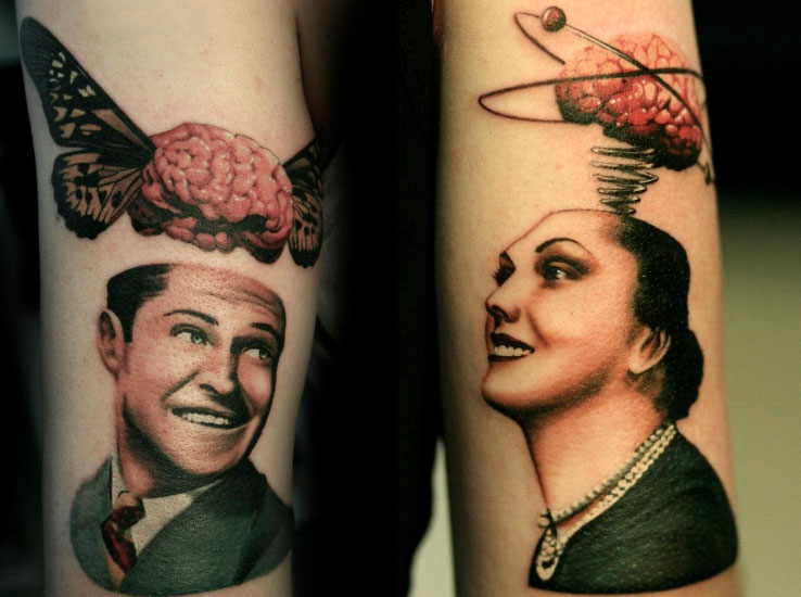 Girl And Men Neuro Science Brian Tattoo