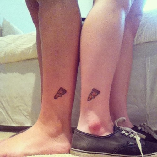 Girl Ankle Nice Pizza Tattoo