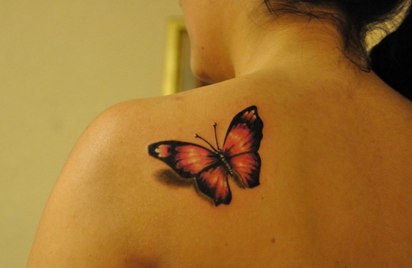 Girl Back Nice Monarch Butterfly Tattoo Design