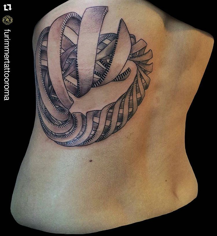 Girl Back Outstanding Escher Tattoo