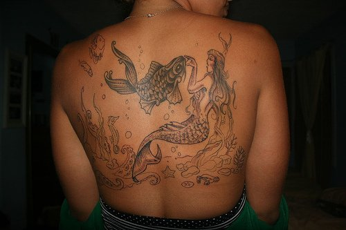 Girl Back Sea Creature Mermaid With Fish Tattoo