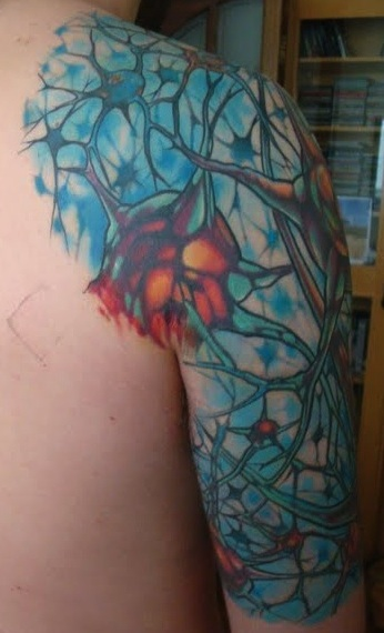 Girl Back Shoulder And Sleeve Biology Science Neuron Tattoo