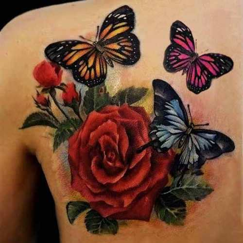 Girl Back Shoulder Nice Monarch Butterfly With Red Roses Tattoo