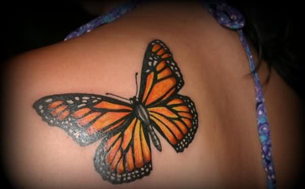 Girl Back Shoulder One More Monarch Butterfly Tattoo
