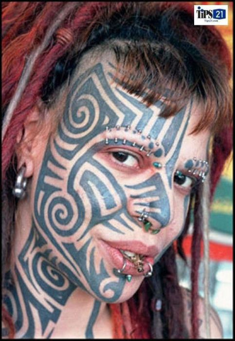 Girl Face Amazing Extreme Tribal Tattoo