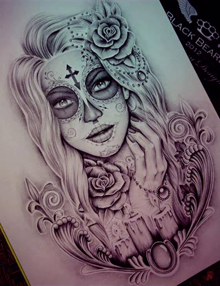 Girl Face Catrina Tattoo Stencil