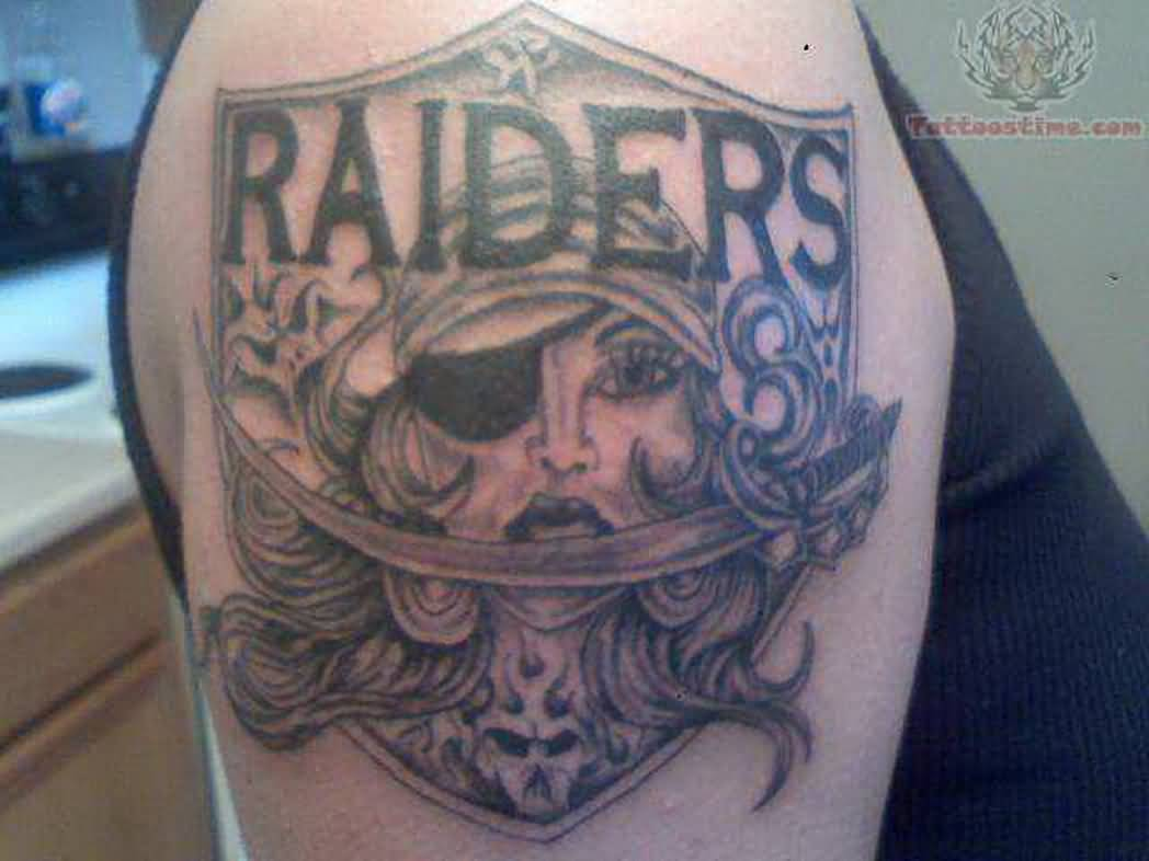 Girl Face Oakland Raiders Logo Tattoo On Shoulder