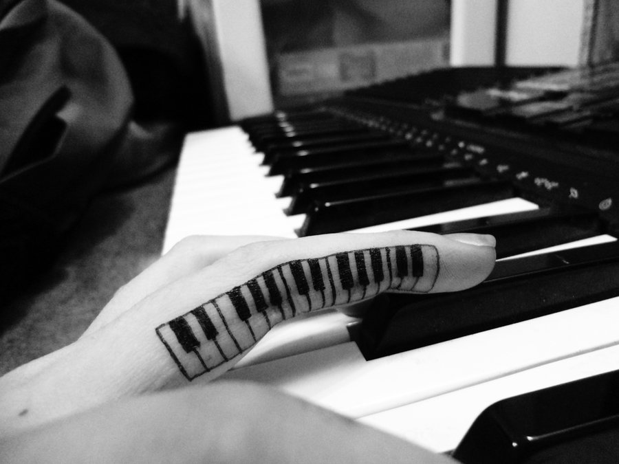 Girl Finger Black Ink Nice Piano Keys Tattoo