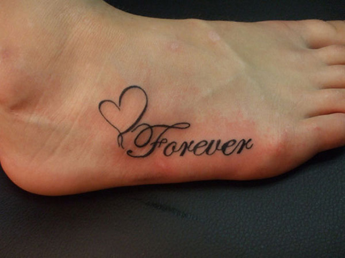 Girl Foot Forever Love Heart Tattoo On Girl Foot