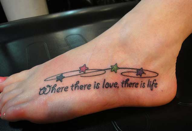 Girl Foot Short Love Quote With Colorful Stars Tattoo