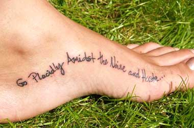 Girl Foot With Nice Poem Tattoo