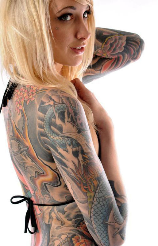 Girl Full Body Cover Up With Amazing Extreme Tattoo