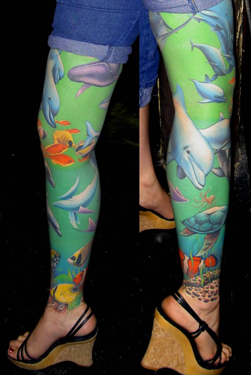 Girl Full Leg Amazing Sea Creature Fish Tattoo