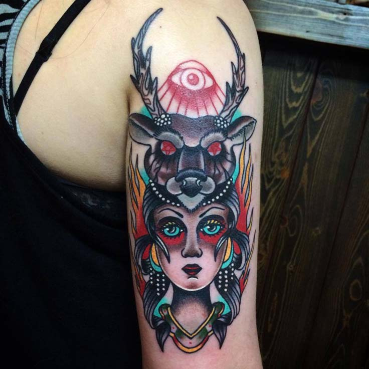 Girl Half Sleeve Deer Girl Face Tattoo With Old School Eye Tattoo