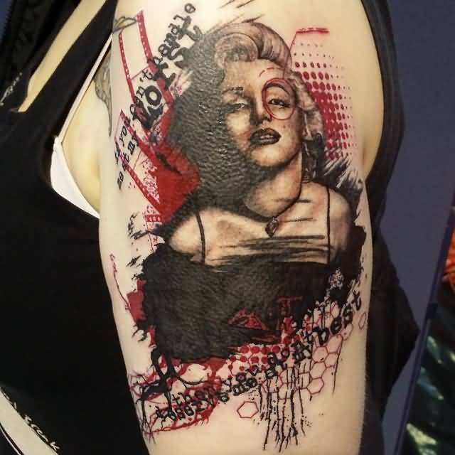 Girl Half Sleeve Nice And Popular Marilyn Monroe Tattoo