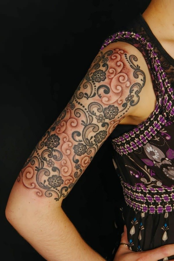 Girl Half Sleeve Nice And Simple Paisley Pattern Tattoo