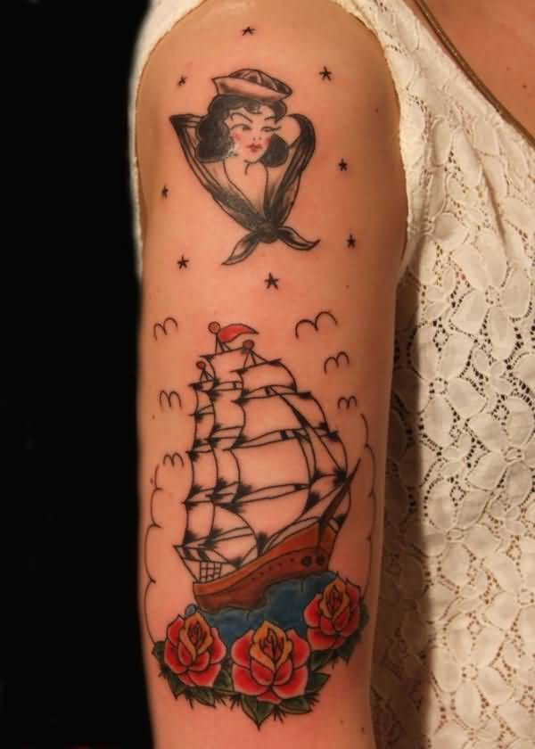 Girl Half Sleeve Nice Roses With Pirate Ship Old School Tattoo