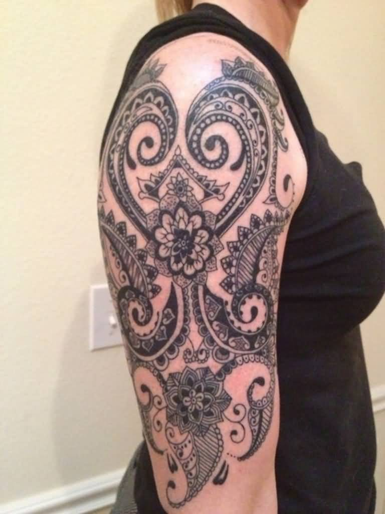 Girl Half Sleeve Wonderful Paisley Pattern Tattoo Design Idea
