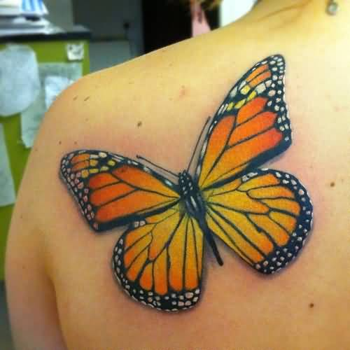 Girl Left Back Shoulder Big Monarch Butterfly Tattoo