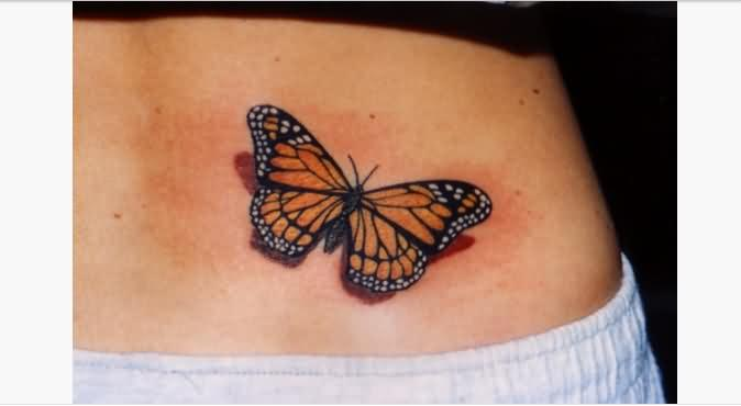Girl Lower Back Nice One Monarch Butterfly Tattoo