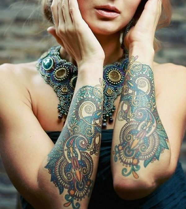 Girl Lower Sleeve Nice Paisley Pattern Tattoo