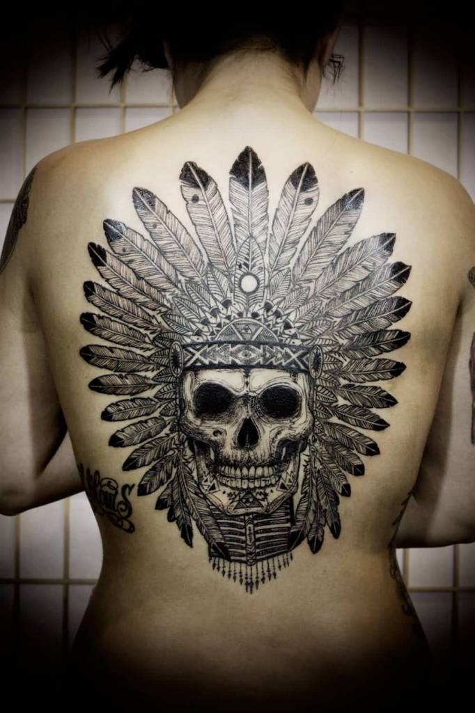 Girl Mid Back Amazing Latino Native Skull Tattoo