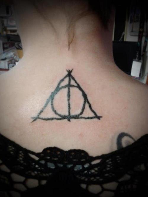 Girl Nape Hallows Tattoo