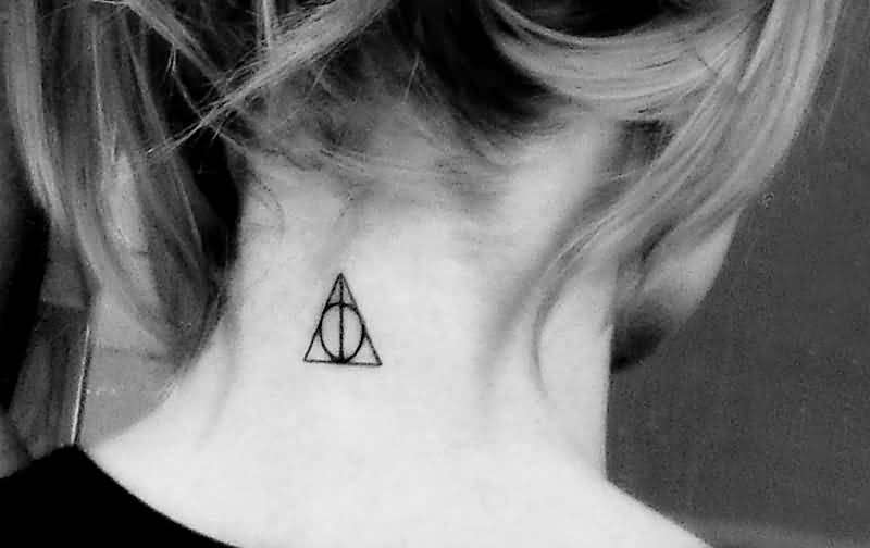 Girl Nape Nice Black Ink Deathly Hallows Tattoo