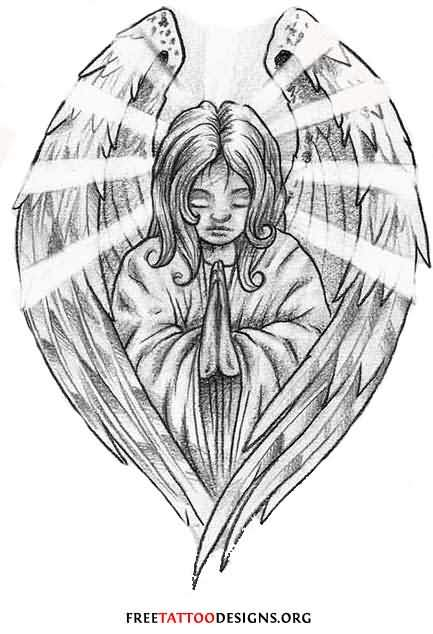 Girl Praying In Angel Wings Tattoo Stencil