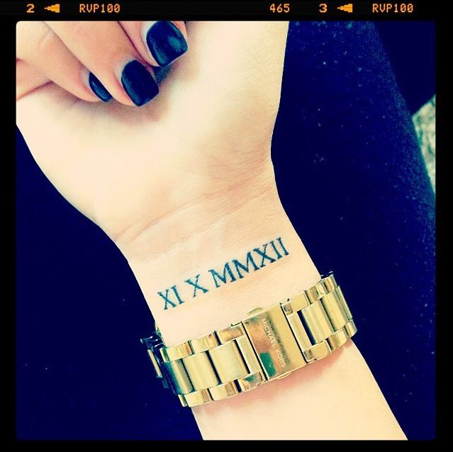 Girl Show Amazing Roman Numbers Tattoo On Wrist