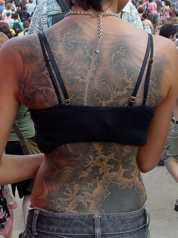 Girl Show Full Back Grey Ink Mandelbrot Tattoo