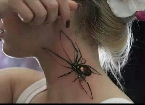 Girl Show Her Awesome Black Widow Spider Tattoo On Side Neck