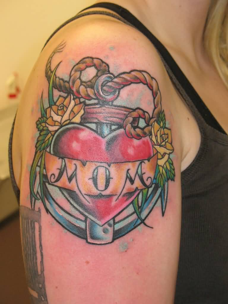 Girl Show Nice Mom Banner Amazing Heart Anchor Tattoo
