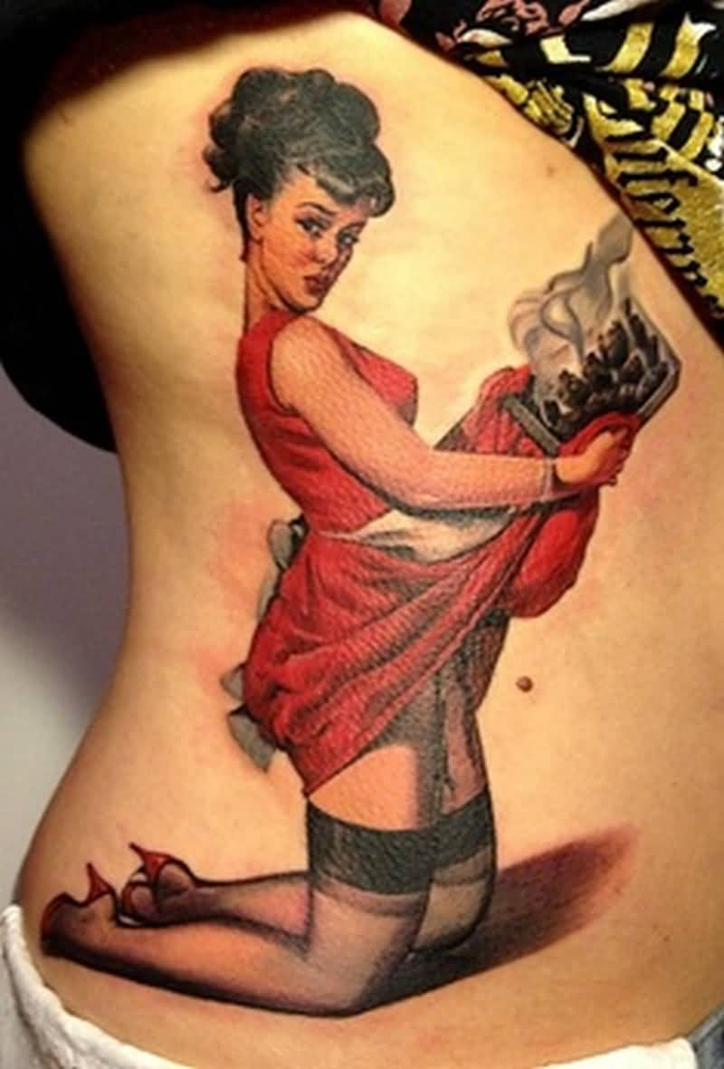 Girl Show Nice Pin Up Girl Tattoo On Side Rib