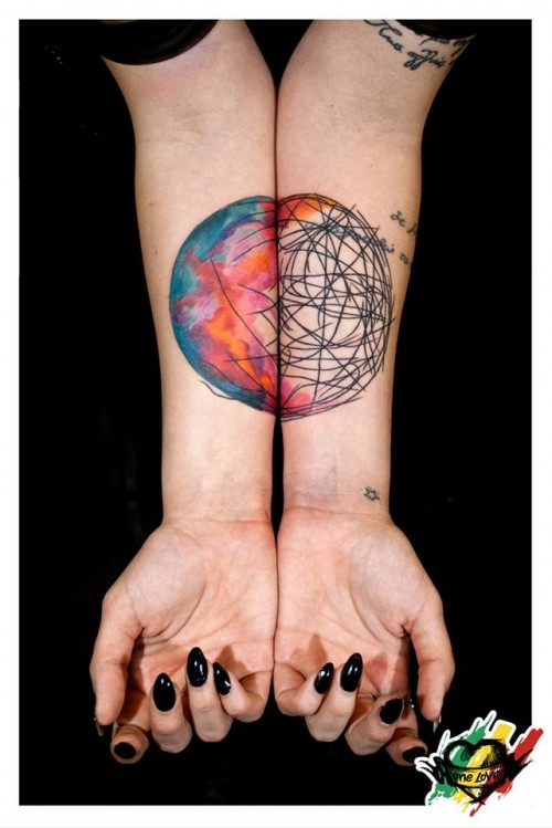 Girl Show Simple Science Circular Tattoo On Wrist
