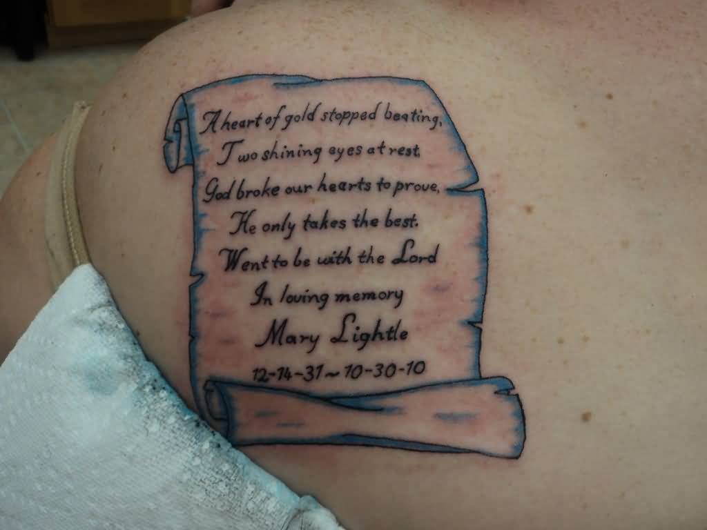 Girl Show Upper Back Memorable Poem Text Tattoo