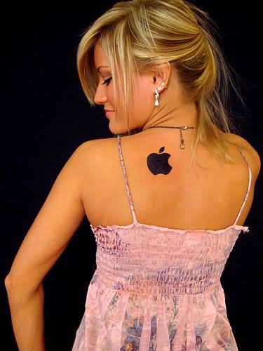 Girl Show Upper Back Nice And Amazing Apple Logo Tattoo Design Idea